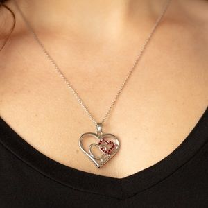 Valentine double heart necklace